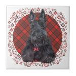 Scottish Terrier on Tartan Ceramic Tile