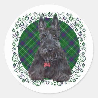 Scottish Terrier on Tartan Classic Round Sticker