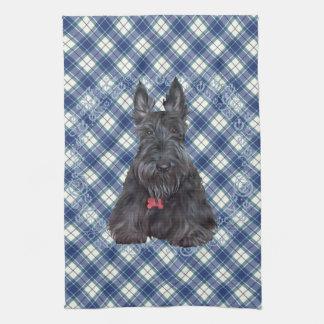 Scottish Terrier on Tartan Kitchen Towel