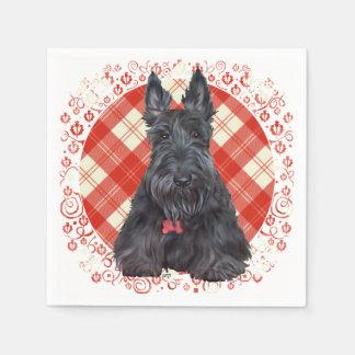 Scottish Terrier on Tartan Disposable Napkin