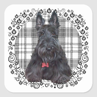 Scottish Terrier on Tartan Square Sticker