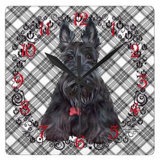 Scottish Terrier on Tartan Square Wall Clock