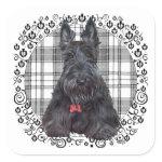 Scottish Terrier on Tartan Stickers