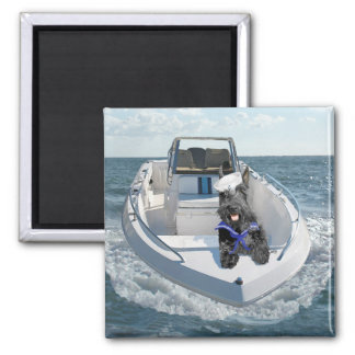 Scottish Terrier on the Boat 2 Inch Square Magnet