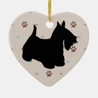 Scottish Terrier Double-Sided Heart Ceramic Christmas Ornament