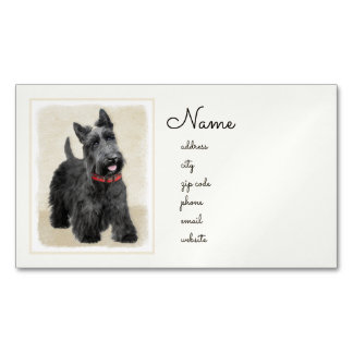 Scottish Terrier Painting - Cute Original Dog Art Business Card Magnet