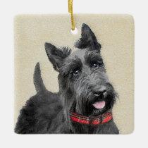 Scottish Terrier Painting - Cute Original Dog Art Ceramic Ornament