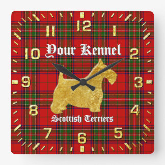 Scottish Terrier Personalize Square Wall Clock