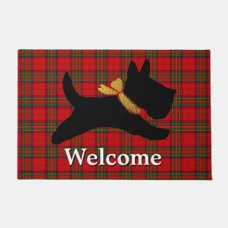 Scottish Terrier Plaid Personalize Doormat