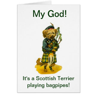 Scottish Terrier Playing Bagpipes Humor  Birthday Greeting Card