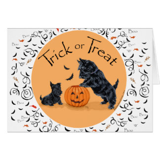 Scottish Terrier & Pup Halloween Greeting Card