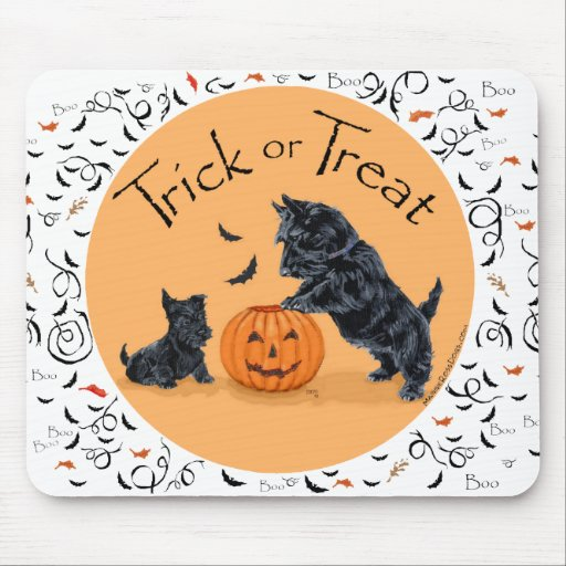 Scottish Terrier & Pup Halloween Mouse Pads