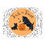 Scottish Terrier & Pup Halloween Postcard