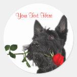 Scottish Terrier  Puppy Red Rose Valentine Design Round Sticker