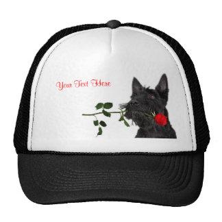 Scottish Terrier  Puppy Red Rose Valentine Design Trucker Hat