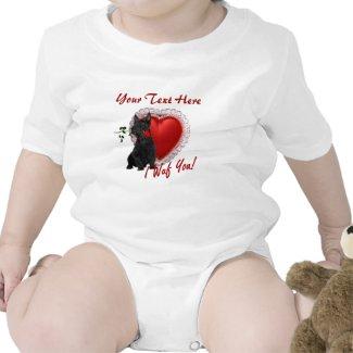 Scottish Terrier Puppy Red Rose Valentine Design shirt