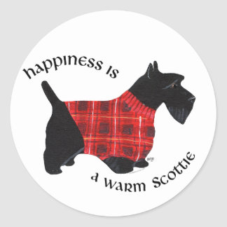 Scottish Terrier Red & Black Plaid Sweater Classic Round Sticker