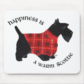 Scottish Terrier Red & Black Plaid Sweater Mouse Pad