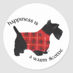 Scottish Terrier Red & Black Plaid Sweater Classic Round Sticker