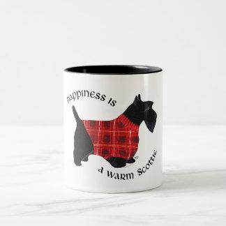 Scottish Terrier Red & Black Plaid Sweater Two-Tone Coffee Mug