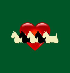 Scottish Terrier Red Heart Kelly Irish Green Shower Curtain