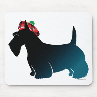 Scottish Terrier Red Plaid Hat Mouse Pad