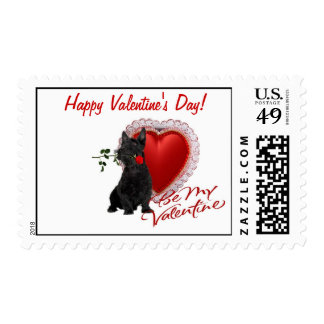 Scottish Terrier Rose and Hearts Stamp