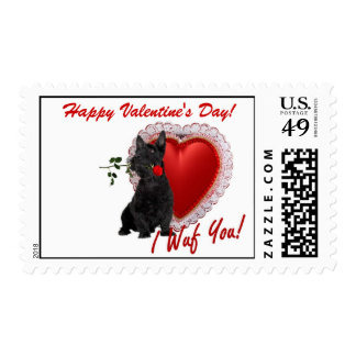 Scottish Terrier Rose and Hearts Stamp #2