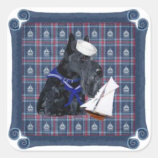 Scottish Terrier Sailor Square Sticker