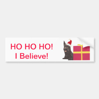 Scottish Terrier Santa Hat Bumper Sticker