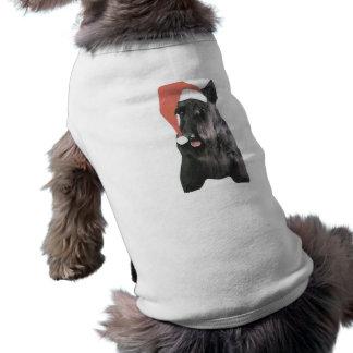 Scottish Terrier Santa Hat Christmas Tee