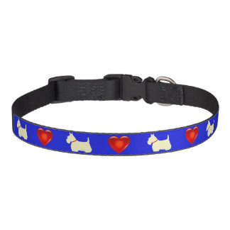 Scottish Terrier, Scottie, blue, red heart Pet Collar