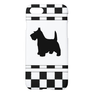 Scottish Terrier Scottie Dog Black and White Check iPhone 7 Case