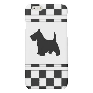 Scottish Terrier Scottie Dog Black and White Check Matte iPhone 6 Case