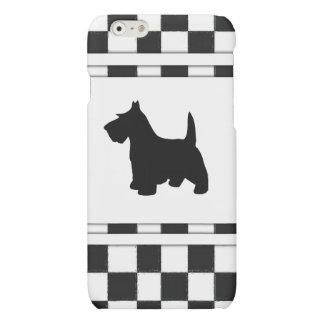 Scottish Terrier Scottie Dog Black and White Check Matte iPhone 6 Case