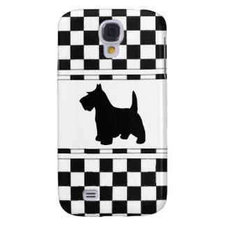 Scottish Terrier Scottie Dog Black and White Check Samsung Galaxy S4 Cover