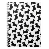 Scottish Terrier Scottie Dog Pattern Black Notebook