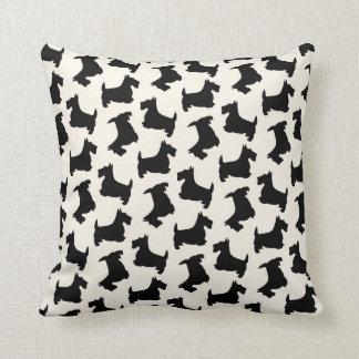 Scottish Terrier Scottie Dog Pattern Black Throw Pillow