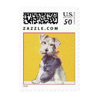 Scottish Terrier Scottie holding Tired Work Boot Postage