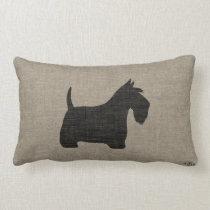 Scottish Terrier Scottie Silhouette Faux Linen Lumbar Pillow