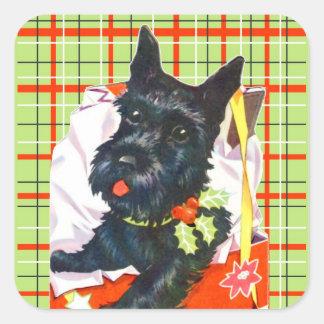 Scottish Terrier Scottie with green plaid stickers