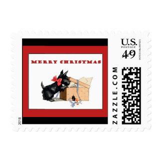 Scottish Terrier Scotty Dog Christmas Holiday Postage Stamp