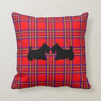 Scottish Terrier Scotty Dog Plaid Pillow