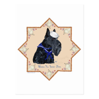 Scottish Terrier Sea Shell Sailor Postcard
