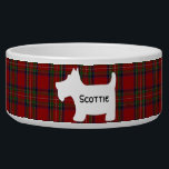 "Scottish Terrier Silhouette on Royal Stuart Tartan Bowl<br><div class=""desc"">This fun,  Scottish themed pet bowl has the Royal Stuart or Stewart tartan plaid in red and green as a background with a white silhouette image of a cute little Scottie Dog (Scottish Terrier). Customize this colorful design with the name of your own pet.</div>"