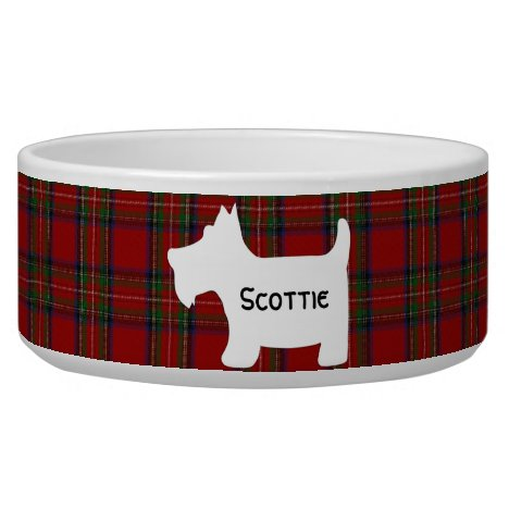 Scottish Terrier Silhouette on Royal Stuart Tartan Bowl