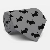 Scottish Terrier Silhouettes Pattern Grey Tie