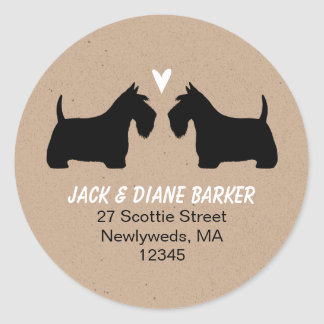 Scottish Terrier Silhouettes Return Address Classic Round Sticker