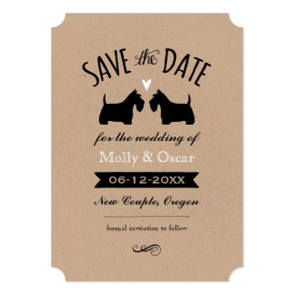 Scottish Terrier Silhouettes Wedding Save the Date Card