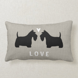 Scottish Terrier Silhouettes with Heart and Text Lumbar Pillow